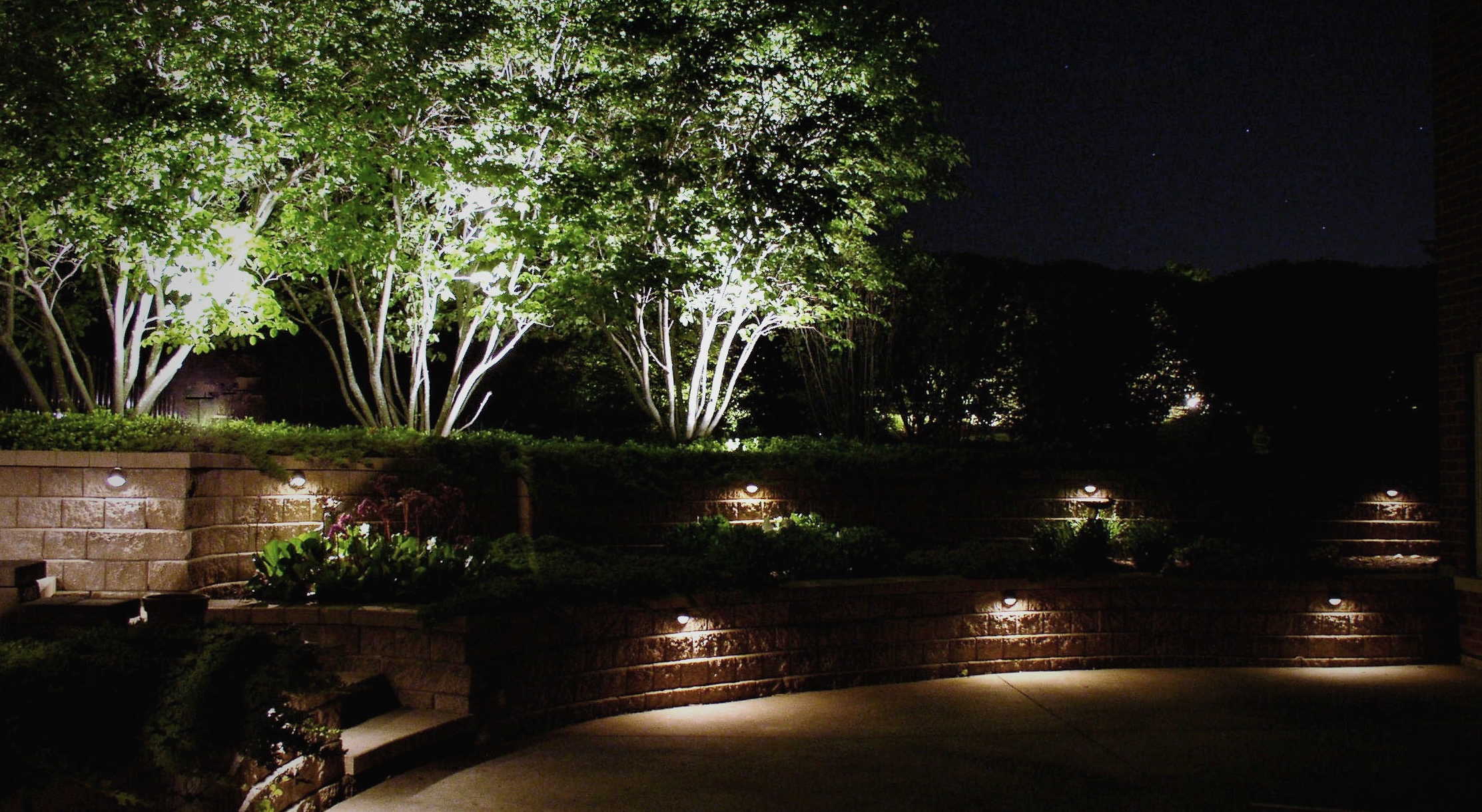 patio landscape lighting by The Illuminators in St. Charles Illinois