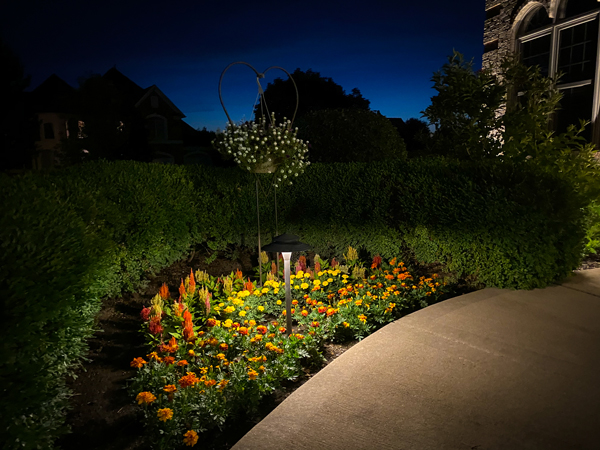 path lighting over a flower garden in Batavia IL